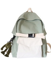 Fashion Green Belt Pendant Nylon Fabric Stitching Contrast Color Buckle Backpack