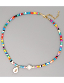 Fashion The Letter E Handmade Beaded Necklace With Pearl Letters And Diamonds
