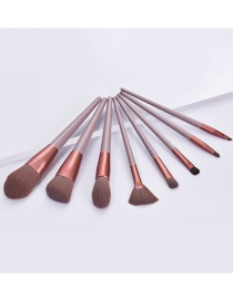 Fashion 8 Branches Of Autumn Leaf Brown Wooden Handle Aluminum Tube Makeup Brush Set