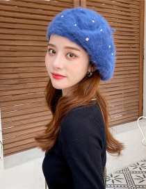 Fashion Navy Faux Rabbit Fur With Diamonds And Pearl Solid Beret