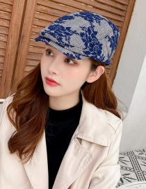 Fashion Navy Lace Flower Houndstooth Beret