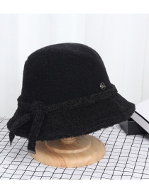 Fashion Black Wool Cake Stitching Contrast Color Small Brim Fisherman Hat