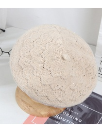 Fashion Beige Solid Color Pattern Diamond Knitted Beret
