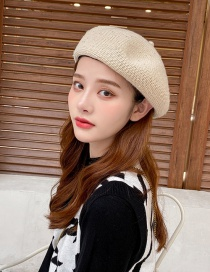 Fashion Beige Corduroy Letters With Diamonds Solid Color Knitted Beret