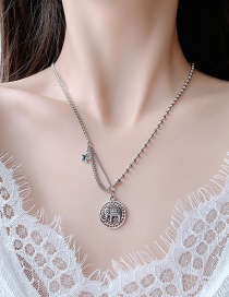 Fashion Silver Elephant Round Five-pointed Star Tassel Alloy Distressed Necklace