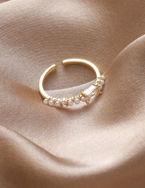 Fashion Square Section Pearl And Diamond Geometric Alloy Open Ring