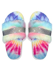 Fashion Color Large Size Rhinestone Flat-bottomed Fur Slippers