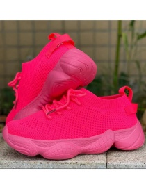 Fashion Rose Red Sleeve Flat Lace-up Flying Woven Mesh Shoes