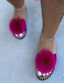 Fashion Rose Red Flat-bottomed Plus Size Wool Ball Slippers