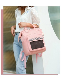 Fashion Pink Letter Print Stitching Contrast Backpack