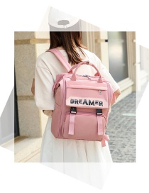 Fashion Pink Letter Print Contrast Color Buckle Backpack
