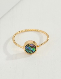 Fashion 4mm Ring Round Imitation Abalone Shell Resin Alloy Earrings Ring