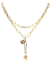 Fashion Golden Copper Inlaid Zircon Letters Round Thick Chain Multilayer Necklace