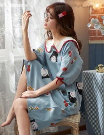 Fashion Blue Pattern Pure Cotton Thin Short Sleeve Maternity Pajamas