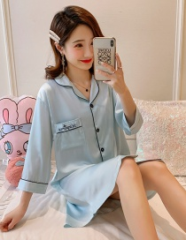 Fashion Silver Gray Ice Silk Thin Spring And Autumn Pajamas