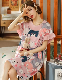 Fashion Bear Cartoon Pajamas Mid-length Thin And Large Size