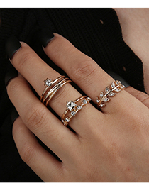 Fashion Gold Color Alloy Diamond Branch Ring Set