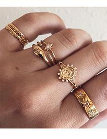 Fashion Gold Color Alloy Diamond Sun Mars Mans Ring Set