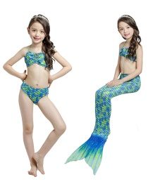 Fashion Green Mermaid Swimming Dress Childrens Mermaid Split Swimsuit With Printed Vest