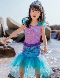 Fashion Mermaid Ruffle Print Contrast Color Mermaid Dress For Children