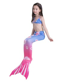 Fashion Red Orchid Chrysanthemum Tethered Halter Print Childrens Mermaid Split Swimsuit