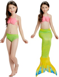 Fashion Shell + Candy Fruit Green Striped Contrast Print Childrens Mermaid Split Swimsuit