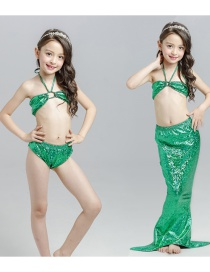 Fashion Green Mermaid Swimming Dress Halter Hollow Childrens Mermaid Split Swimsuit