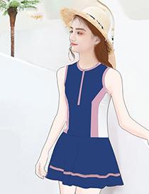 Fashion Navy Blue Conservative Slim One-piece Swimsuit