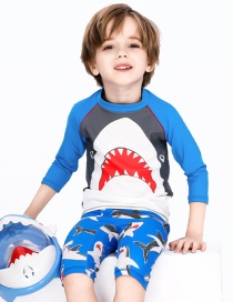 Fashion Great Mouth Shark Split Childrens Long-sleeved Shark Shorts And Hooded Swimsuit