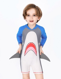 Fashion Siamese Greatmouth Shark Childrens Three-dimensional Shark Long-sleeved One-piece Swimsuit