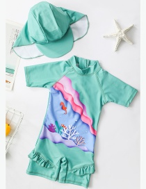 Fashion Color Underwater Ink Childrens Color Seabed Pattern One-piece Swimsuit