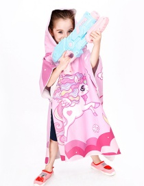 Fashion Pink Unicorn Microfiber Cartoon Print Childrens Hooded Bath Towel
