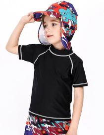 Fashion Black Childrens Short-sleeved Top Swimsuit