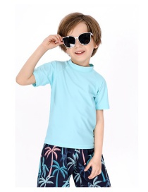 Fashion Light Blue Childrens Short-sleeved Top Swimsuit