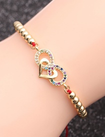 Fashion Red String Bead Chain + Love Copper Micro-inlaid Zircon Love Eye Bracelet