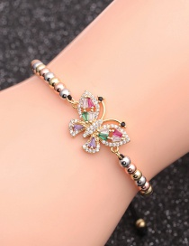 Fashion Mixed Color Bead Chain Butterfly Copper Micro-inlaid Zircon Butterfly Geometric Bracelet