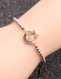 Fashion Mixed Color Bead Chain Crown Micro-inlaid Zircon Crown Bow Bracelet