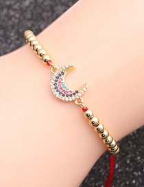 Fashion Red Rope Copper Bead Moon Micro-inlaid Zircon Moon Beaded Bracelet