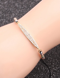 Fashion Mixed Color Bead Chain Gold Micro-inlaid Zircon Geometric Beaded Bracelet
