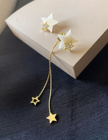 Fashion Golden Tassel And Diamond Five-pointed Star Alloy Earrings