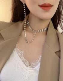 Pendientes De Collar De Cadena Geométrica Con Incrustaciones De Diamantes De Una Pieza