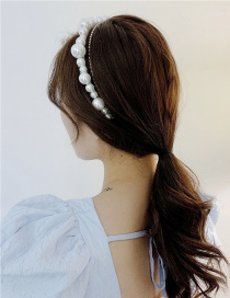 Fashion White Diamond-studded Pearl Alloy Hollow Multilayer Headband