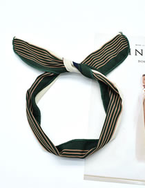 Fashion New Striped Green Wire Pineapple And Flamingo Striped Plaid Printed Rabbit Ear Wire Hairband
