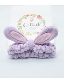 Fashion Purple Rabbit Ears Three-dimensional Bunny Ears Headband With Fabric Bow