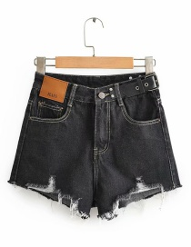 Fashion Black Open Line High-waisted Frayed Denim Shorts