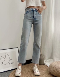 Fashion In Blue Washed Loose Straight High-rise Jeans