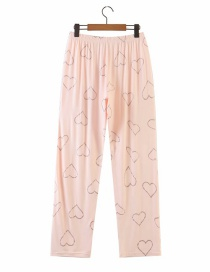 Fashion Pink Heart Bronzing Home Straight Pants