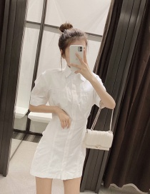 Fashion White Slim Single-breasted Dress With Lapel