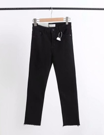 Fashion Black Slim-fit Skinny Jeans With Stretch Hem And Raw Edges