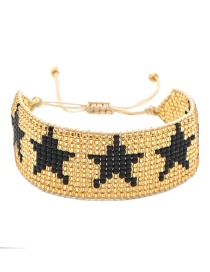 Fashion Black Rice Beads Hand-woven Five-pointed Star Wide Side Bracelet